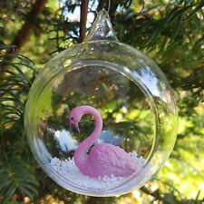 Flamingo Open Bauble - Christmas, Snow, Festive, Pink, Xmas, Tree, Decoration