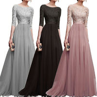 Women Lace Long Dress Wedding Bridesmaid Evening Cocktail Party Dresses Elegant