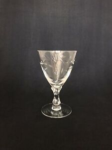 Five Crystal Cocktail Glasses Etched With Flowers