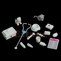Set of 14pcs Medical Equipment Box Doctor Nurse Tools Toys Kit For Barbie Doll