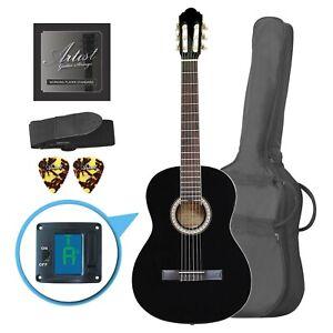 Artist CL44BK Full Size Classical Nylon String Guitar Pack 39 - Black