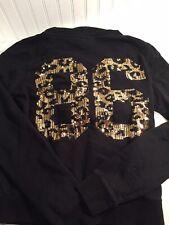 Victoria Secret Womens Black Sequin Leopard Hooded Jacket Medium