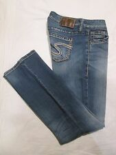 "(*-*) SILVER JEANS * Womens Stretch LOLA 17"" Blue Jeans / Denim  * Size 26 x 30"