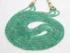 """Ebay Sale 100% Natural 3 Strand Zambian Emerald Faceted Beads 16"""" Necklace 3*5mm"""