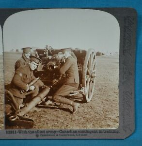 WW1 Stereoview Photo With Allied Army Canadian Contingent In Training Underwood