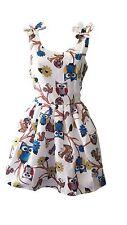 Women Ladies NEW Retro Summer Evening Fashion Party Casual Owl Print Dress sz XS