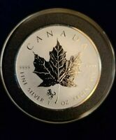 Silver 2014 Canadian $5 Maple Leaf Reverse Proof Coin 1 oz . Horse Privy BU