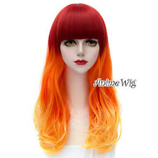 Lolita Orange Mixed Red Long 55CM Curly Hair Daily Party Cosplay Wig + Free Cap