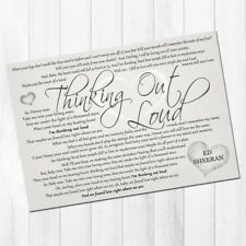 Ed Sheeran Thinking Out Loud a4 PRINT Song Lyrics Gift wedding valentines