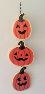 New Pumpkin Jack O Lantern wood sign plaque Halloween Wall Door hanging decor