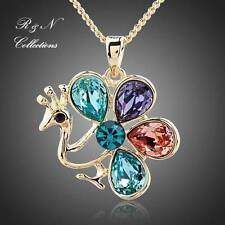 Multicolor Peacock 18K Gold Plated Made With Swarovski Pendant Necklace (N449-26