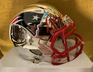 Randy Moss Signed New England Patriots CHROME Mini Helmet Certificate HOLOGRAM