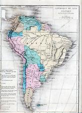 South America 1878 orig. french atlas maps Brasil Chile Peru Bolivia Ecuador Rio