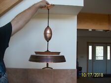Mid-Century Modern Harmony House Pull Down Ceiling Fixture Retro Glass Panel