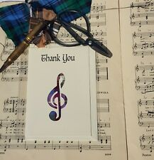 "Scottish card ""Thank you"" with a fabric tartan plaid music treble cleff inlay."