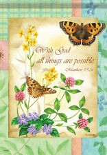 HOUSE FLAG- WITH GOD ALL THINGS POSSIBLE Inspirational Floral 2 Sided 28x40 Flag