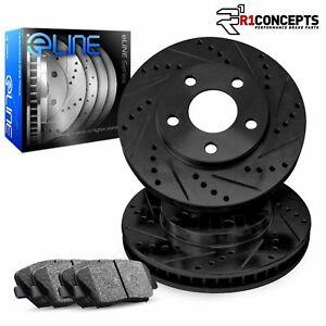 For 2009-2014 Honda Fit Front Black Drill/Slot Brake Rotors+Semi-Met Pads
