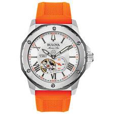 Bulova Marine Star Men's Automatic Open Aperture Orange Strap 45mm Watch 98A226