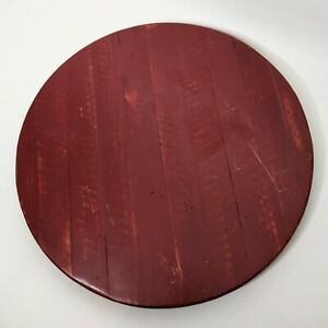 """Triangle Brand Lazy Susan 20"""" Wooden Rustic Style Red Oshkosh Turntable Service"""