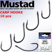 Mustad Carp Fishing Hooks 10pcs Eyed Great Boilies or Bait Presentation Barbel