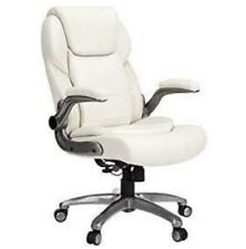 Ergonomic High Back Bonded Leather Executive Chair With Flip Up Arms And Cream