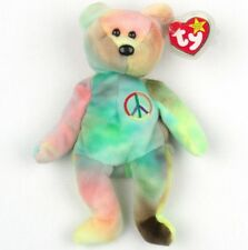 89d8a9f720b TY Beanie Baby PEACE BEAR Tie-dyed BRIGHT COLORS P.E. Pellets MWMT