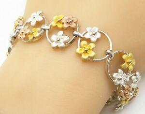 ROSS-SIMONS 925 Silver - Two Tone Sculpted Petite Flowers Chain Bracelet - B5059