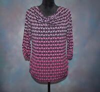 Christopher & Banks Women's PM 3/4 Sleeve Purple Black Cowl Neck Geo Print Top