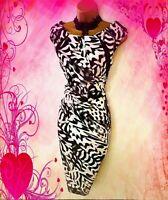KAREN MILLEN** STUNNING ABSTRACT  PRINT  STRETCH  WIGGLE  DRESS UK 14 VGC