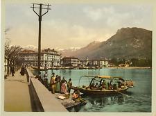 Lugano. Quai.  P.Z. vintage photochromie, photochromie, vintage photochrome