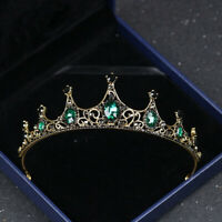 Vintage Green Crystal Bridal Crown Headwear Wedding Tiara Headband Hair