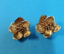OLD VINTAGE ESTATE PIECE 14K YELLOW GOLD FLOWER CLIP ON EARRINGS 585 13.6 GRAMS