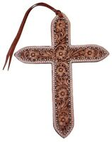 Showman Large Natural Light Leather Saddle Tie On Cross w/ Silver Beads NEW TACK