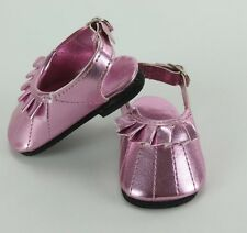 Metallic Pink Slip On shoes made for 18 inch American Girl
