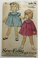 1960's VINTAGE SEWING PATTERN ADVANCE 2986 Toddlers sz 2 Childs Sew-easy