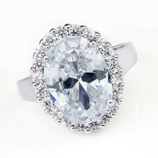 Womens 6.0 CT Oval Cut Halo Fashion Cocktail RING White Gold Plated Size 6-8