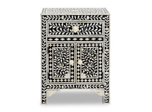 Handmade Antique Bone Inlay Floral Black Bedside Table Nightstand One Drawer