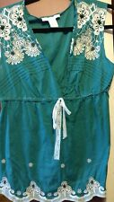Charlotte Russe Women's Junior Size M Teal Blue with Lace Cotton Tank Top