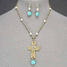 Brown Rope Pearl Turquoise Stone Hammered Gold Silver Cross Pendant Necklace