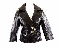 Yoana Baraschi Black Textured Shiny Rain Slicker Crop Jacket 2