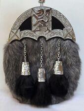 Full dress Sporran With grey Goat Fur Lion Celtic Design (Free Belt Included)