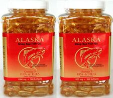 2 bottles Omega 3  =600caps, Alaska Deep Sea Fish Oil, EPA DHA,