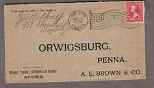 1897 cover J Belknap Bay City MI flag cancel to A E Brown Co Shoes Orwigsburg PA