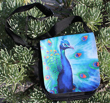 "Pop Art Peacock small purse with interchangable flap. 9""x 7"""