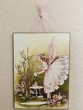 Vintage Fairy Preparing for the Ball Postcard Plaque Shabby
