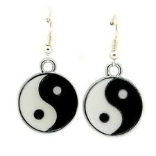YIN YANG EARRINGS Tai Chi Yoga Meditation Balance NEW Stainless Steel Wires Drop