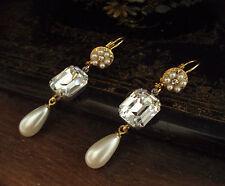 Vintage Unique Emerald Cut Clear Crystal & Pearl Long Drop Pierced Hook Earrings