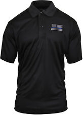 Black Moisture Wicking Thin Blue Line US Flag Embroidered Police Polo Shirt