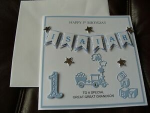 Personalised Handmade New Baby Girl/Boy 1st Birthday Card