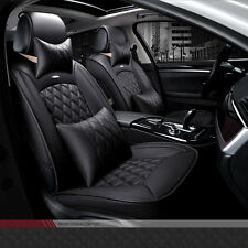 NEW Luxury PU Leather Car Seat Cover Front Black Color Seat Cushion Pad Headrest